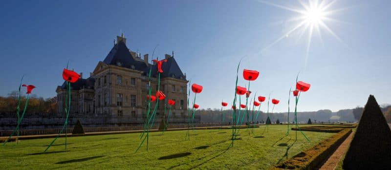 The Poppies Bouquet Suspended in Vaux Le Vicomte